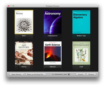 Choose from various templates Apple provides for iBooks Author
